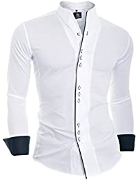 D&R Fashion Men's Formal Shirt with Double Cuffs Band Grandad Collar and Contrast Piping