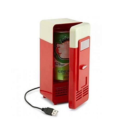 KT USB Mini frigo Fruit, jus Noir Rouge Petit congélateur Bar Boisson Durable Mini réfrigérateur 19,4 * 9 * 9CM Desktop Car seaux de Glace,Red