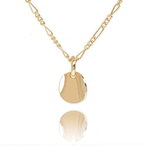Malaika Raiss Halskette Damen Gold Runder Anhänger Kleines Wishplate Goldplatte - Tolle Qualität Hochglanz 24 Karat Vergoldet - N3137b
