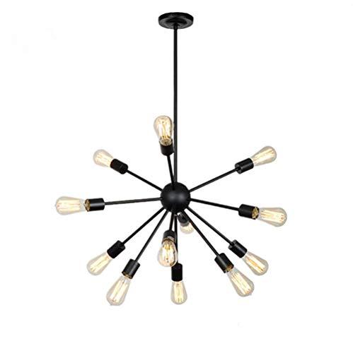 Xiao Yun ☞ Moderne Pendelleuchte 12 Lichter / 18 Lichter Kronleuchter Retro Deckenleuchte Schwarz (Größe: 12-Lights) ☜ - Stahl Zwölf Light Kronleuchter