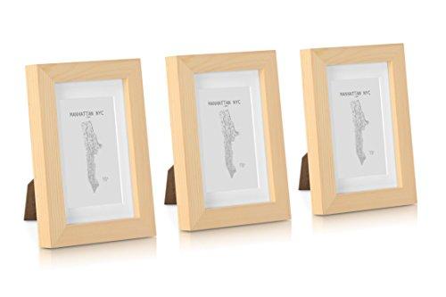 Marcos de Fotos 10 x 15 cm - Paquete de 3 Marcos de Madera sólida - con Paspartú para Fotos 6,5 x 10,5 cm Incluido - Grosor 2 cm - Despintado