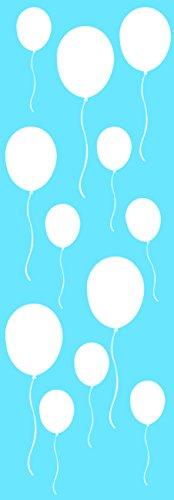 Décoration murale adhésive 24*68 Ballons Blancs, Polyvinyle, Blanc, 24 x 0.1 x 68 cm