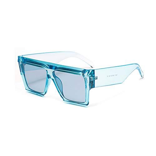SYQA übergroße quadratische Sonnenbrille dicken Rahmen schwarz Leopard blau rosa transparente Sonnenbrille für Frauen rechteckig,C3
