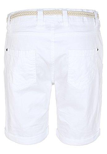 Sublevel Pantaloncini al ginocchio da donna con cintura | Bermuda corti | Pantaloni corti da donna in colori alla moda bianco M
