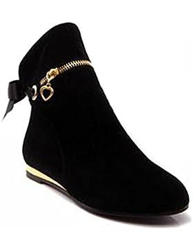ShallGood Donna Stivali Autunno Inverno Moda Chelsea Zipper Stivaletti  Tacchi Bassi Scarpe Cuoio Corta Boots 05d914d5ed3