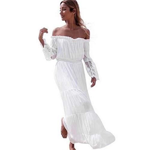 Sasstaids Frauen Elegantes Kleid reizvolle trägerlose Strand-Sommer-Lange Kleid-Kleider Strand-Kleider Swing-Kleid Spitzenkleid -