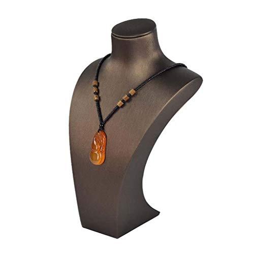 SNJ Soporte De Exhibición De Busto De Collar De Cuero