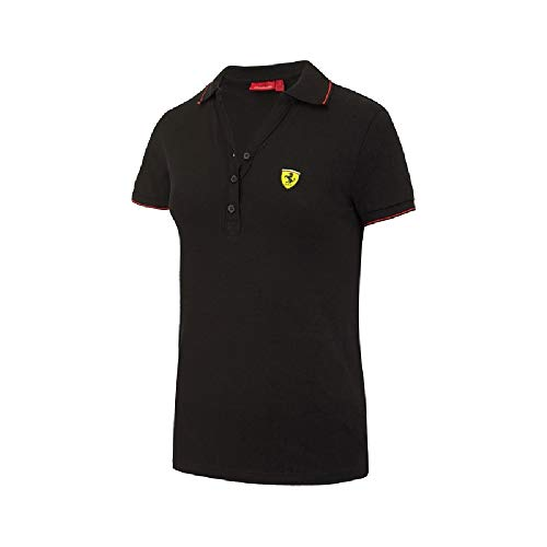 Ferrari F1 Team Damen Poloshirt aus Baumwoll-Pique, Schwarz XL Schwarz