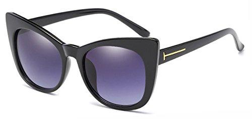 Zokra (TM Sonnenbrille Frauen Big Cat Eye Rahmen Luxuxmarken Sonnenbrillen Sunnies Shades 7 Farben Classic Retro Lady Sunglass Oculos [Schwarz Grau]