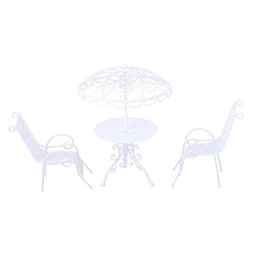 Unbekannt Sharplace Miniatur Gartenmöbel Tisch + Stühle Set für 1/12 Puppenstube Garten Outdoor...