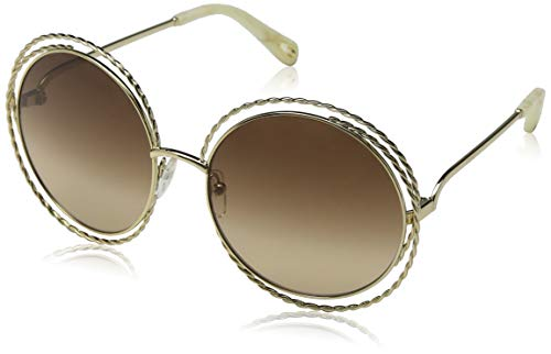 Chloè ce114st occhiali da sole, marrone (gold/brown lens), 58 donna