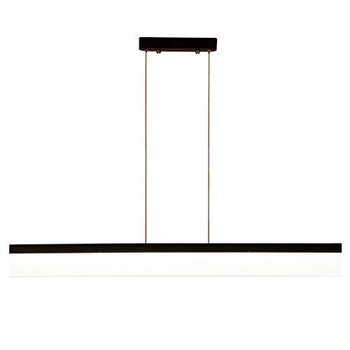 Pendelleuchte LED Hängeleuchte Modern Minimalistische Hängelampe Wohnzimmer Esszimmer Büro Arbeitszimmer Leuchte Langes Quadrat Design Beleuchtung Eisen Acryl Lampe Schirm Schwarz (Warm Licht, 150cm)