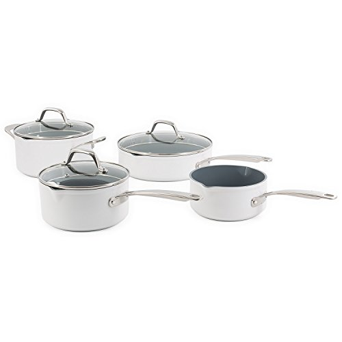 MITRA 7-Piece White Ceramic Cookware Set - Laguiole Pro Quality