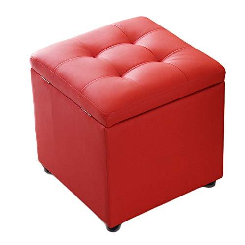 DULPLAY Cuero del Faux Otomana almacenaje, Multifunción Moda Banco cómodo Esponja Impermeable Taburete Puff Cuadrado Rígida Taburete del sofá Taburete bajo Banco de Zapato-Rojo 40x40x40cm(16x16x16)
