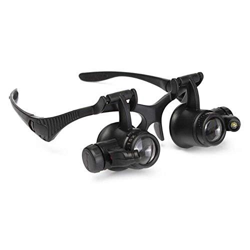 Bbyaki Lupe Gläser 10X 15X 20X 25X Doppel Auge Lupe Objektiv Tragen Gläser LED-Leuchten Schmuck Uhren Wartung Lesen - Ein Lupen Auge