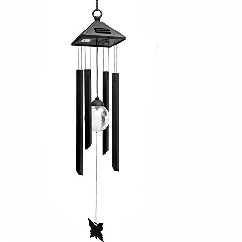 HomeYoo LED Solar Wind Glockenspiel, 7 LED wechselnde Lichtfarbe wasserdicht Weihnachten Windspiele, Xmas Deer Light String Nacht Garten Lichte Für Haus/Partynacht Garten Dekoration