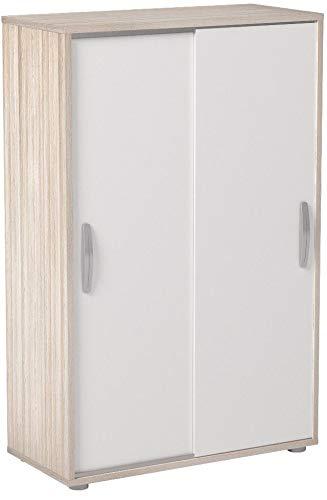 Miroytengo Mueble Armario Auxiliar Puertas correderas Color Blanco y Roble 68x33x106 cm