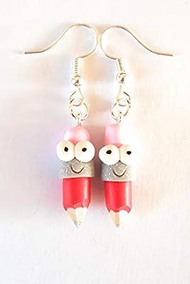 cadeau ecole,boucles d'oreilles crayon de couleur,rigolo,rouge,gomme rose,cadeau maitresse