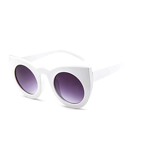 QWERDF Katze Auge Sonnenbrille für Frauen, schwarz und weiß Vintage Kunststoff Rahmen Sonnenbrille, dicken Rahmen Cut-Out Flash Mirror Objektiv,B