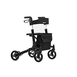 Faltbarer Leichtgewicht-Rollator FRIPAC R-1011, Aluminium, mit Ankipphilfe, kompletter Ausstattung, und bequemer Sitzfläche, schwarz