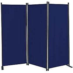 QUICK STAR Paravent 170 x 165 cm Séparateur de tissu Jardin en 3 parties pliable Balcon Écran de confidentialité partition Bleu