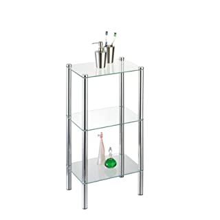 Axxentia Bathroom 282130 Standing Shelf Solanio Chrome with 3 Glass Shelves 40 x 30 x 77 cm