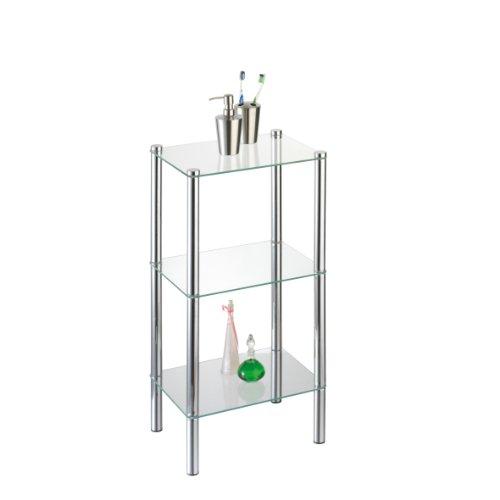 axentia Badezimmerregal Solanio in Silber, verchromtes Badregal, Standregal mit drei Glasböden , Maße: ca. 40 x 30 x 77 cm -
