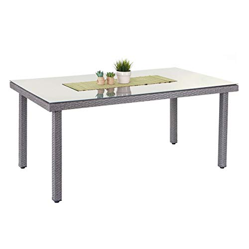Mendler Poly-Rattan Gartentisch Cava, Esstisch Tisch mit Glasplatte, 160x90x74cm