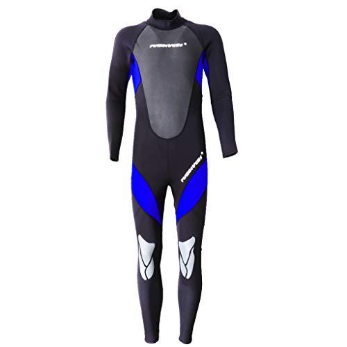 perfk Herren Neoprenanzug 3mm Schwimmanzug Tauchanzug Full Wetsuit Naßanzug Surfanzug atmungsaktiv, schnell trocknend - Blau L