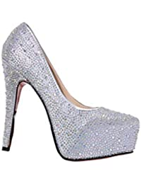 Mujeres Tacones Altos Zapatos de Boda Dama Cristal Plataformas Plata  Glitter Rhinestone Zapatos de Novia de d9f5dac936af