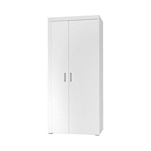 Furniture24 Kleiderschrank Schrank Wohnzimmerschrank Samba Hochglanz (Weiß/Weiß Hochglanz)