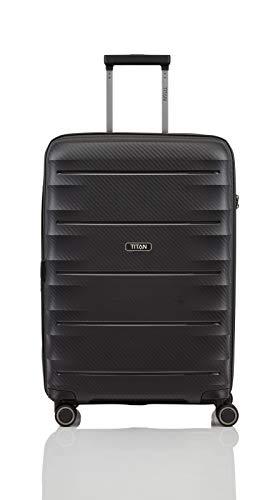 """TITAN Super Leichter Hartschalenkoffer \""""Highlight\"""" in 4 Größen im Carbon Look, Handgepäck mit Vortasche Koffer, 67 cm, 73 Liter, Black"""
