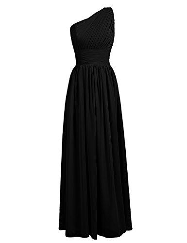 Dresstells Damen Kleider Lang Chiffon Abendkleider Ein Träger DT90466 Schwarz