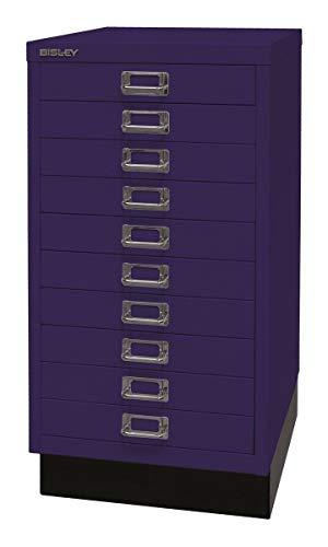 Bisley Schubladenschrank 29 aus Metall | Schrank mit 10 Schubladen und Sockel | Büroschrank DIN A3 | Werkzeugschrank | Metallschrank in 6 Farben (Oxfordblau)