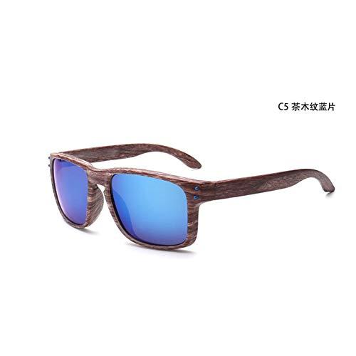 GJYANJING Sonnenbrille 2018 Neue Sonnenbrille Männer Frauen Sport Brillen Nieten Holzmaserung Mode Vintage Sonnenbrille Brille Outdoor Fahren Uv400