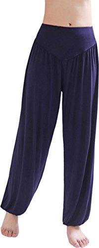 HOEREV Super weiche Modal Spandex Harem Yoga Pilates Hosen, Gr.-Large,Navy Blau
