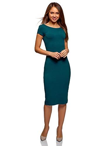 oodji Collection Damen Midi-Kleid mit Ausschnitt am Rücken, Grün, DE 42 / EU 44 / XL
