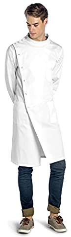Dr. James Unisex White Howie Coat with Mandarin Collar