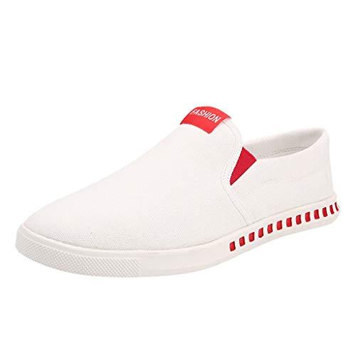 ZHANSANFM Herren Canvas Sneakers Slip On Breathable Halbschuhe Verschleißfest Schlichter Freizeit Espadrilles Mode Leichte Outdoor Flacheschuhe Low top Weich Schuhe (41EU, rot)