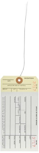 """Aviditi G19083 10 Point Cardstock #8 Pre-Wired 2 Sided Carbonless Stub Style Inventory Tag, """"Number 3500-3999"""", 6-1/4"""" Length x 3-1/8"""" Width, White/Manila (Case of 500) by Aviditi"""