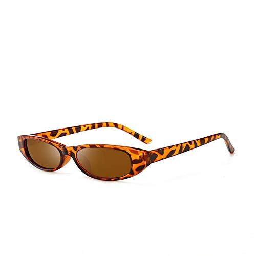 Liuao Elliptical Small Frame Sonnenbrillen Frauen Cat Eyes Brillen Womens Cat Eye Frame Blendschutzgläser,Leopard Print