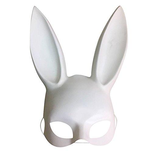 (Lonshell Ostern Hase Ohren Masken Hell / Matt Komisch Halbes Gesicht Maske Nachtclub Bar Maskerade Party Accessoire (Matt Weiß))