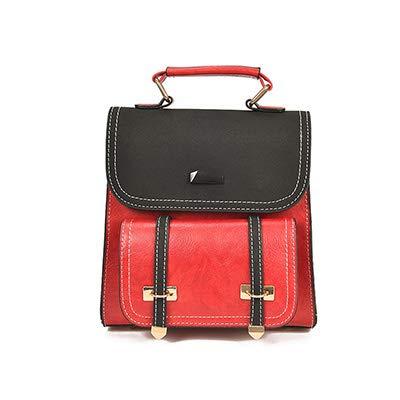 Bagkeena PU-Leder Rucksack Schulranzen für Teenager Mädchen Schultertaschen, Damen, rot, 21x9x21cm (Reebok Rosa Rucksack)