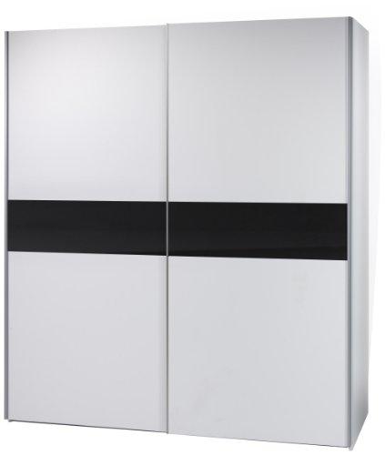 Stella Trading 58-301-25 Victor 2 Schwebetürenschrank weiß, Bauchbinde schwarz, circa 170 x 195 x 63 cm
