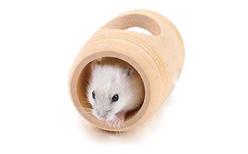 Cosanter Forme de Tonneau en bois Maison de jeu pour hamster Petit Animal Hamster Écureuil Jouets petit House
