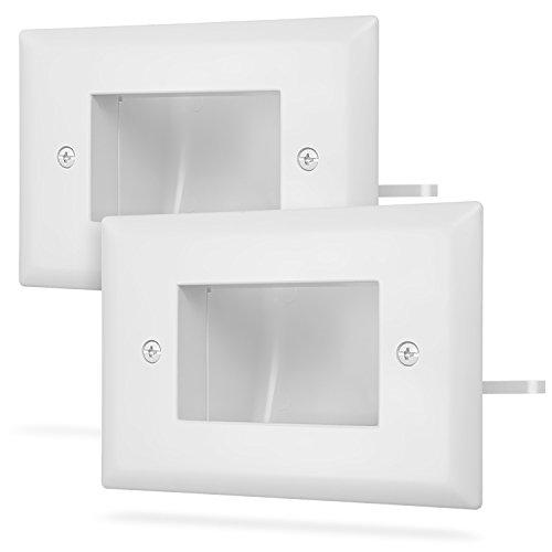 Fosmon 1 Gang (2 Stück) Wandplatte, Einbau Niederspannungs Kabelplatte In Wall Installation für Lautsprecherkabel, Koaxialkabel, HDMI Kabel oder Netzwerk / Telefonkabel - (weiß) Video-flush Mount