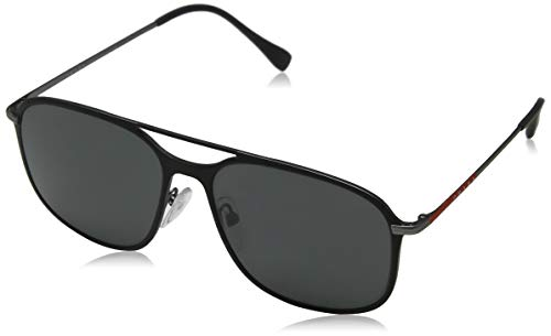 Prada Sport Herren 0ps 53ts Sonnenbrille, Schwarz (Black Gunmetal Rubber/Grey), 56