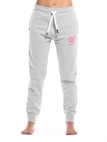 WOLDO Athletic Damen Jogger Jogginghose Trainingshose Sweatpants Slim Fit (L, Clark grau/Koralle)