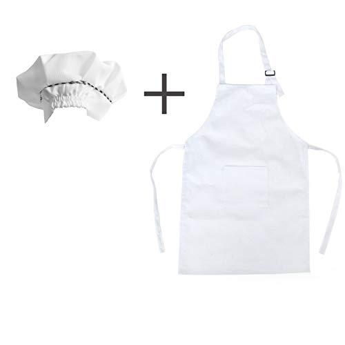 Grembiule per Bambini + Cappello Da Cuoco per Bambini,Grembiuli per Bambini con Grembiule da Cucina per Bambini,Grembiule per Bambini Unisex/Abbigliamento da Disegno per Bambini Dell'Asilo (Bianco)