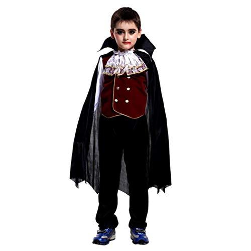 Yanhoo Kindermode Kinder Langärmeliges Hemd + Hose + Mantel Halloween-Kostüm Cosplay Vampire Performance Kostüm Dreiteiligen Anzug (Shirt Halloween-kostüm Denim)